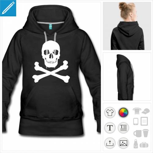 hoodie noir tête de mort à créer soi-même
