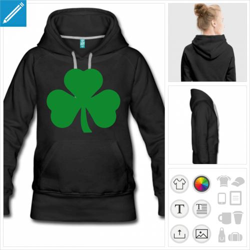 hoodie femme trèfle irlandais personnalisable
