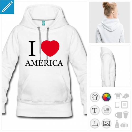 hoodie Amérique à imprimer en ligne