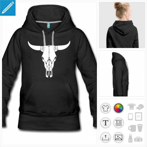 hoodie noir crâne de vache personnalisable, impression à l'unité