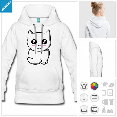 hoodie femme chaton kawaii à personnaliser et imprimer en ligne