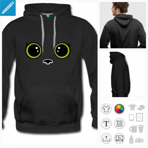 hoodie homme chat kawaii à imprimer en ligne