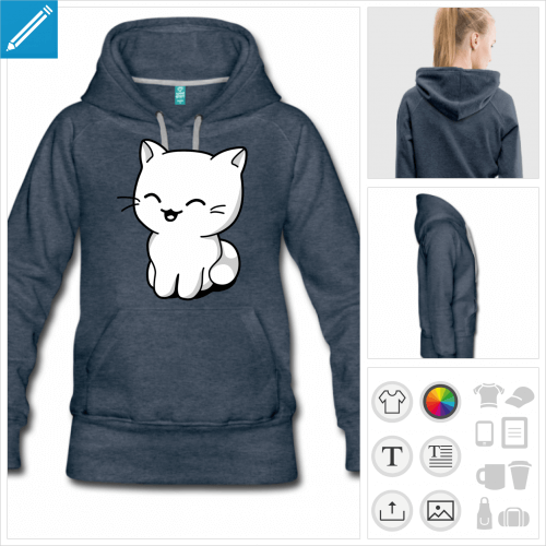 hoodie chaton kawaii à personnaliser