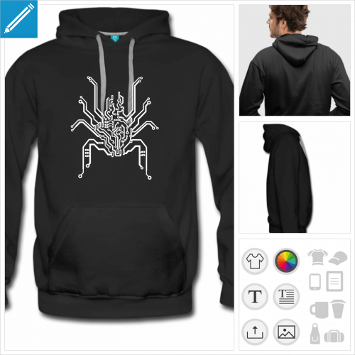 hoodie noir araignée personnalisable