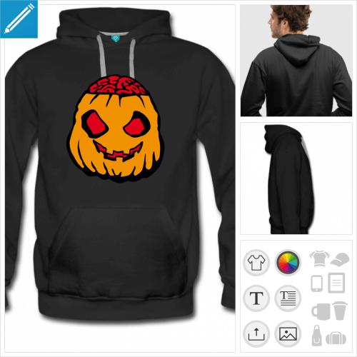 hoodie noir citrouille halloween à imprimer en ligne