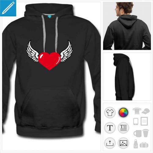 hoodie noir coeur ailes à imprimer en ligne