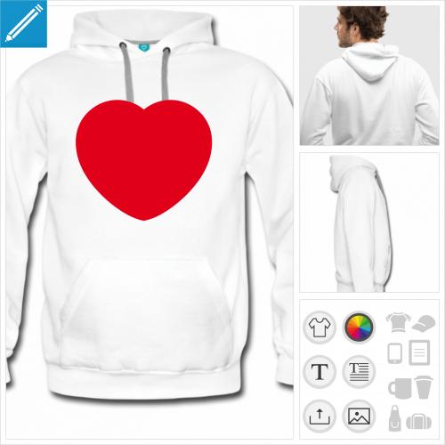 hoodie homme coeur love personnalisable