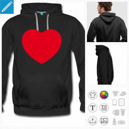 hoodie noir I love à imprimer en ligne