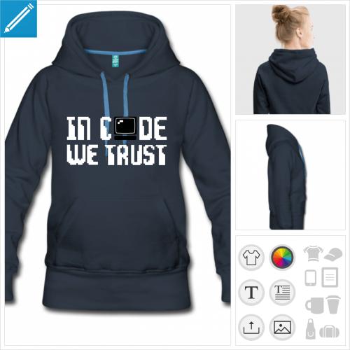 sweat-shirt à capuche code à personnaliser