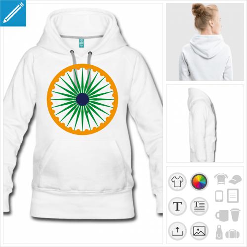 sweat à capuche drapeau indien personnalisable