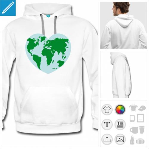 hoodie blanc coeur planète à imprimer en ligne