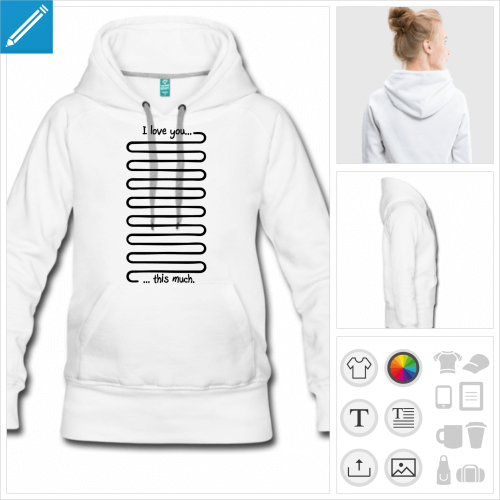 sweat-shirt à capuche love à imprimer en ligne