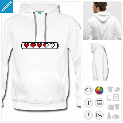 hoodie blanc coeur pixel à personnaliser, impression unique