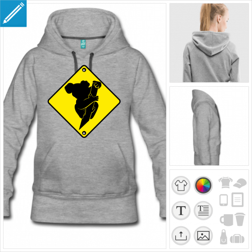 hoodie pour femme koala branche à créer soi-même