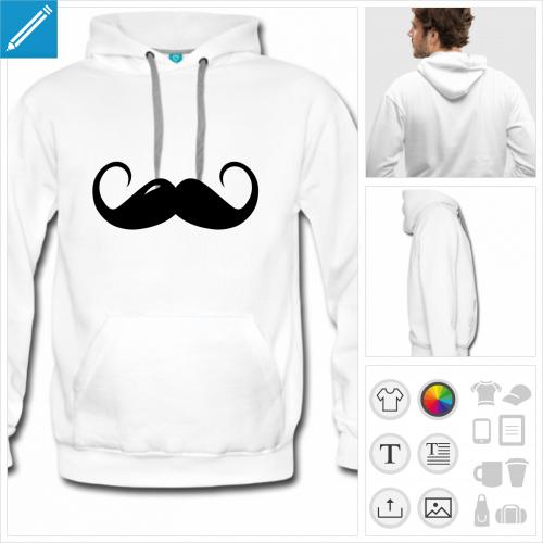 hoodie homme moustache à imprimer en ligne