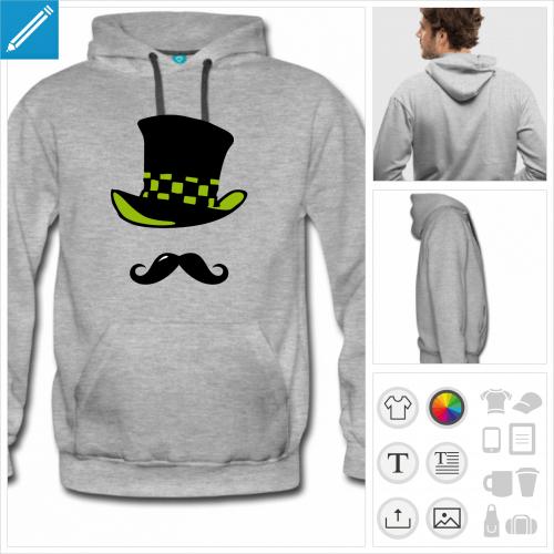 hoodie homme moustache chapeau à personnaliser