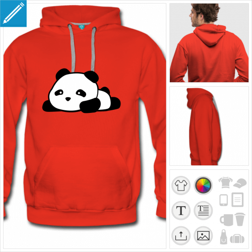 sweat-shirt panda kawaii rigolo à personnaliser