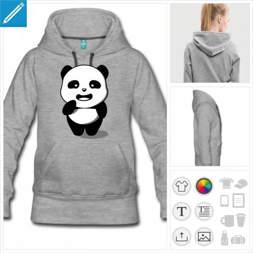 hoodie pour femme panda à imprimer en ligne
