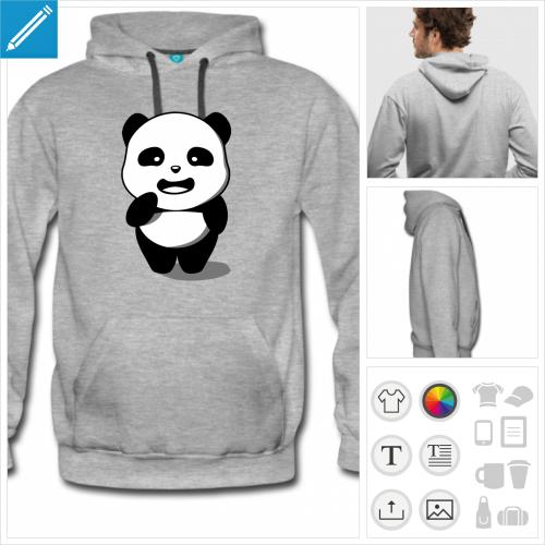 hoodie homme panda kawaii personnalisable, impression à l'unité