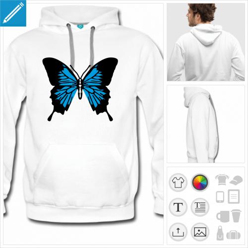 hoodie blanc papillon à personnaliser et imprimer en ligne