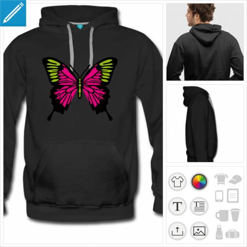 sweat homme papillon décoré à personnaliser