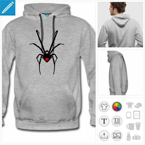 sweat à capuche araignée à personnaliser, impression unique