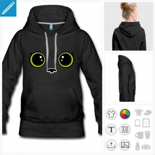 hoodie pour femme chaton kawaii à imprimer en ligne