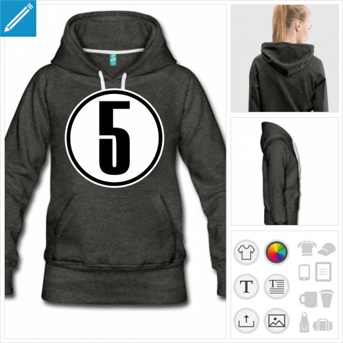 hoodie noir Numéro 5 à personnaliser, impression unique
