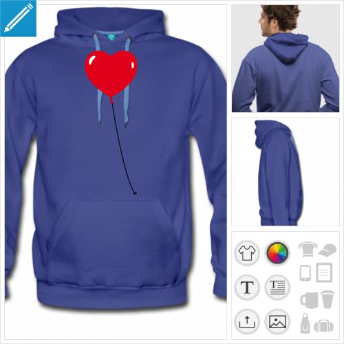 sweat-shirt bleu coeur à personnaliser, impression unique