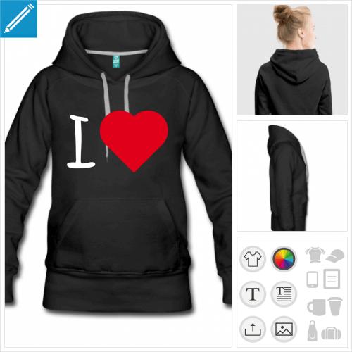 hoodie femme coeur I love à personnaliser et imprimer en ligne