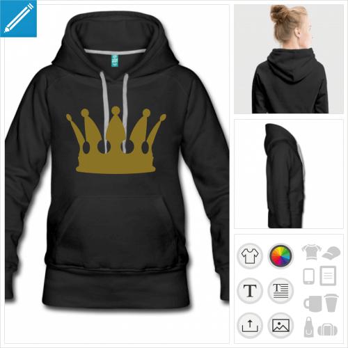 hoodie femme couronne à imprimer en ligne