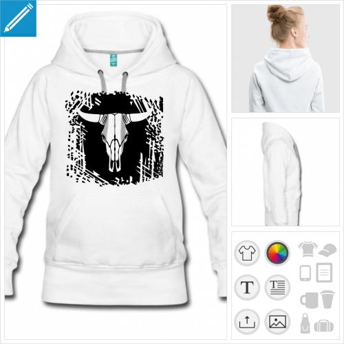 hoodie pour femme crâne de vache personnalisable