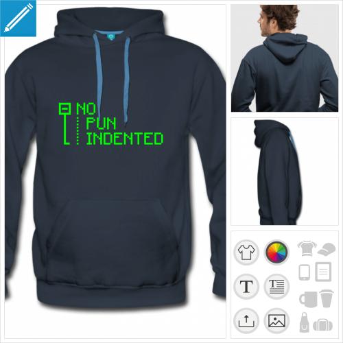 hoodie bleu pun indented à créer soi-même
