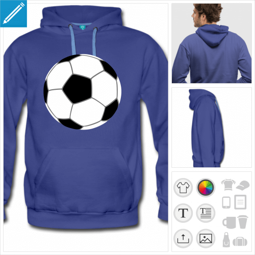 hoodie homme ballon de foot à personnaliser