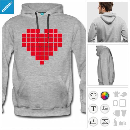 hoodie homme coeur pixel à personnaliser, impression unique