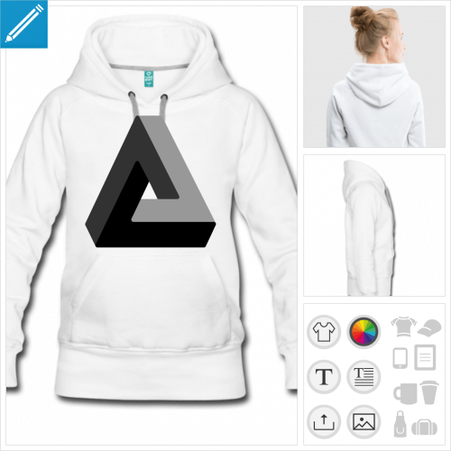 sweat-shirt à capuche triangle impossible à imprimer en ligne