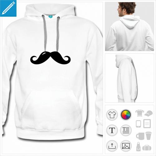 hoodie homme moustache à personnaliser