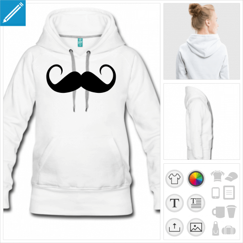 sweat-shirt à capuche moustache à personnaliser et imprimer en ligne