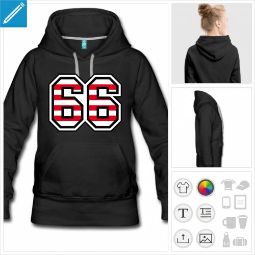 hoodie femme Numéro 66 à imprimer en ligne