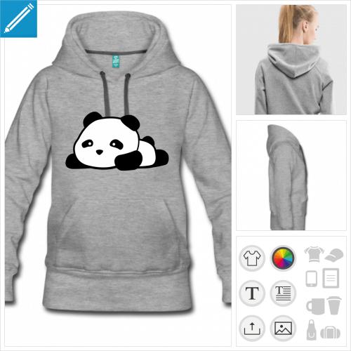 sweat-shirt gris panda à imprimer en ligne