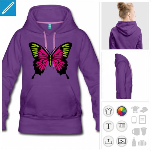 hoodie ailes de papillon personnalisable