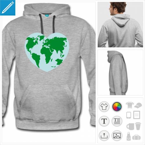 hoodie homme Terre à imprimer en ligne