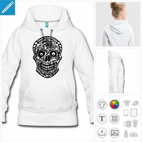 sweat-shirt gris tête de mort fleurs à personnaliser et imprimer en ligne