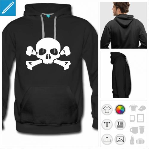 hoodie noir tête de mort à personnaliser et imprimer en ligne