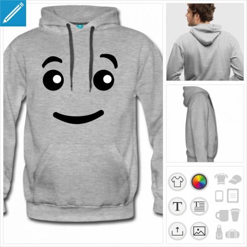 hoodie homme yeux lego personnalisable, impression à l'unité