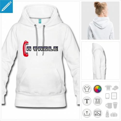 hoodie blanc ordinateur personnalisable, impression à l'unité