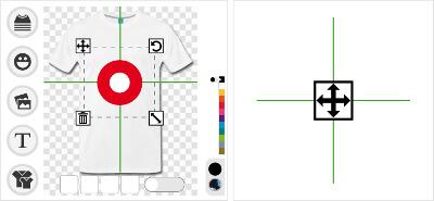 Placez le design où vous voulez avec l'outil croix.