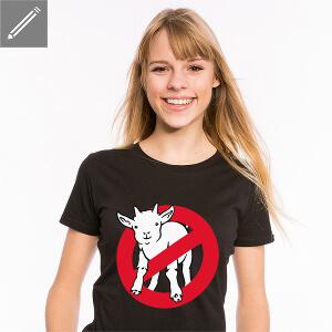 T-shirt humour geek pour femme, avec une parodie du logo Ghostbuster, I ain't afraid of no goat.