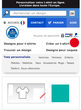 La taille et le prix du t-shirt sont calculés en fonction du design et de vos modifications