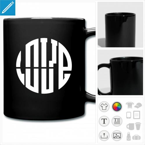 mug coloré amour personnalisable